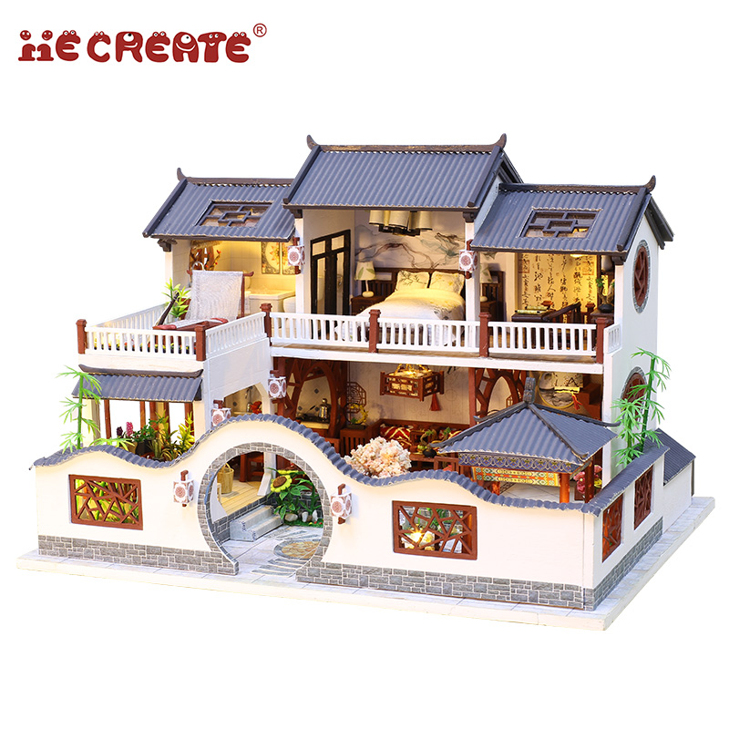 IiE Create Dollhouse Furniture Chinese Style Wooden Miniature Doll House Diy Toys For Children With Light Lamps  Christmas Gift