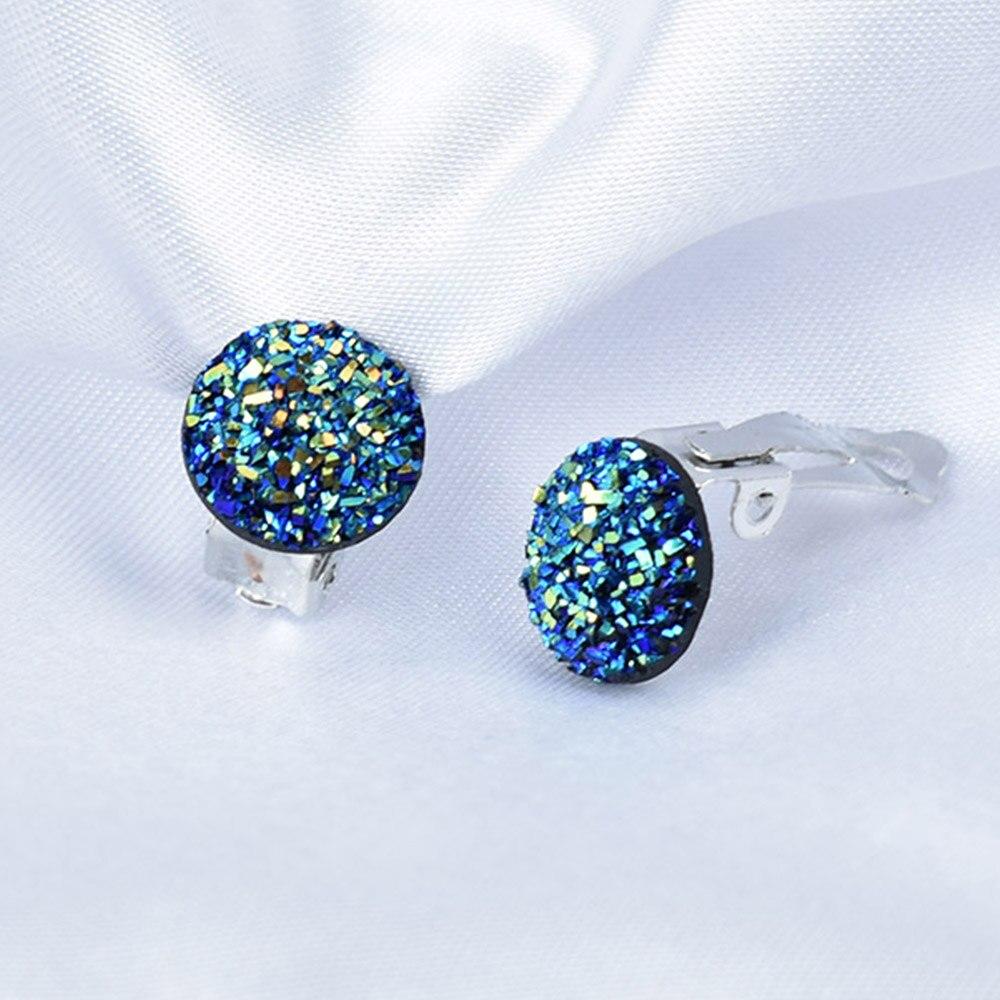 Chadestinty простой серебристый цвет круглый зажим для ушей без отверстий полимерные серьги для ушей женские ювелирные изделия Поддельные Кристальные серьги Druzy Earings|Серьги-клипсы|   | АлиЭкспресс