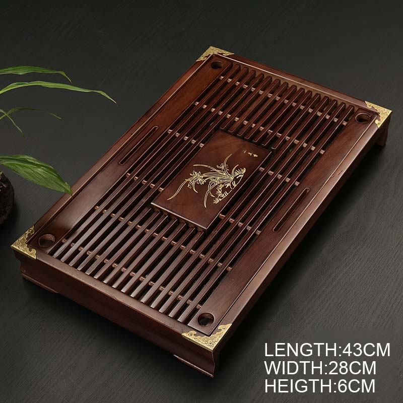 Chinese Solid Wooden Tea Tray Teaware Kung Fu Tea Set Carving Table Drawer Type Storage Drainage Tea Board Vintage Home Decor