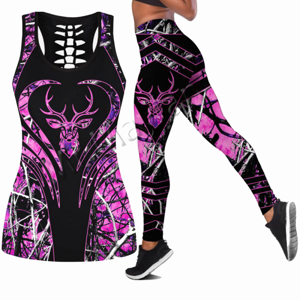 Hipster Hollow Tanktop & Leggings For Women 3D Printing Deer Hunting Fashion Sexy Pink Vest Female Casual Clothes Drop Ship