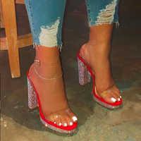 Women shoes High heel Fashion Rhinestone Female shoes with Fur heels Sexy woman pumps Peep toe Ladies shoe Big size 41 42