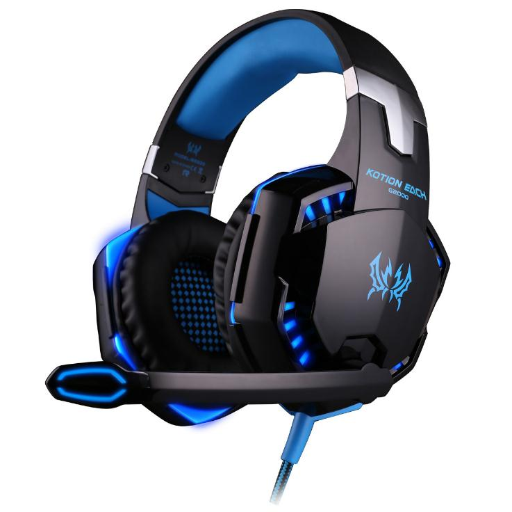 <font><b>G2000</b></font> G9000 Gaming Headsets Big Headphones with Light Mic Stereo Earphones Deep Bass for PC Computer Gamer Laptop PS4 New X-BOX image