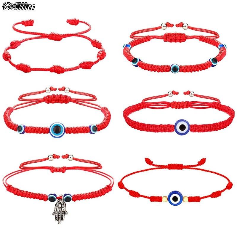 10 Стиль ручной Плетеный Лаки зло Красная Нить, браслеты с брелоками для женщин мужчин синий