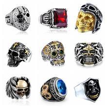 Segredo menino gótico masculino anel de jóias hip hop punk crânio do vintage goth anéis acessórios masculinos bijoux anillos hombre
