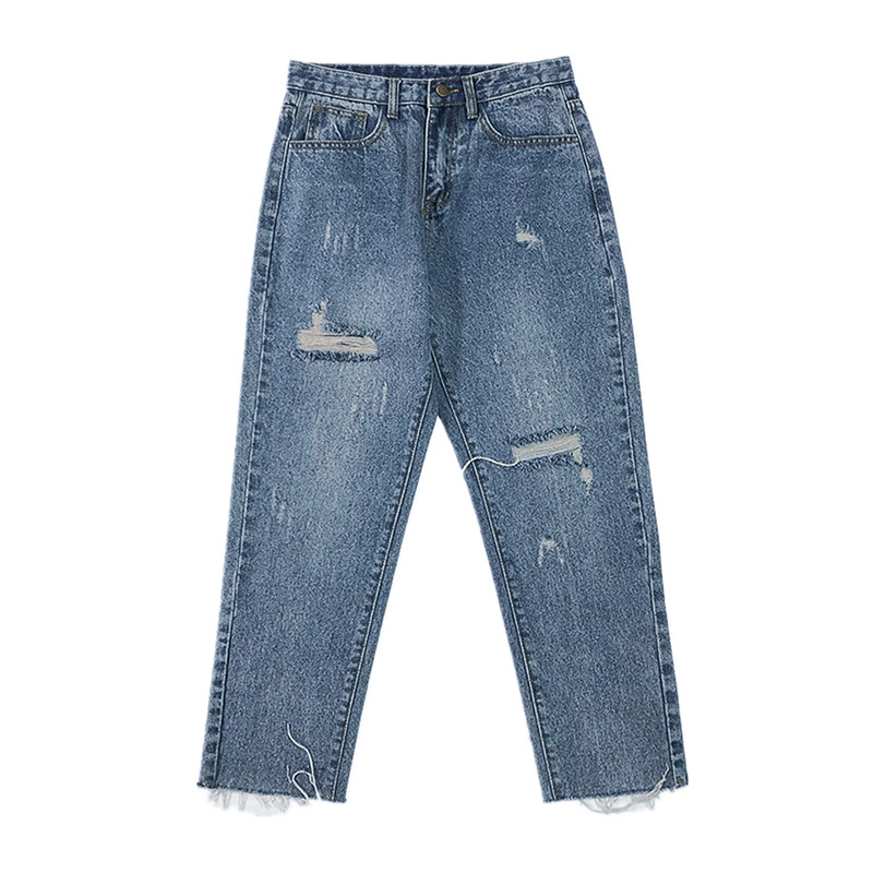 Shredded Burr Cropped Jeans Spring And Summer Trend Loose Frayed Tassel Washed Straight Denim Pants Plus Size