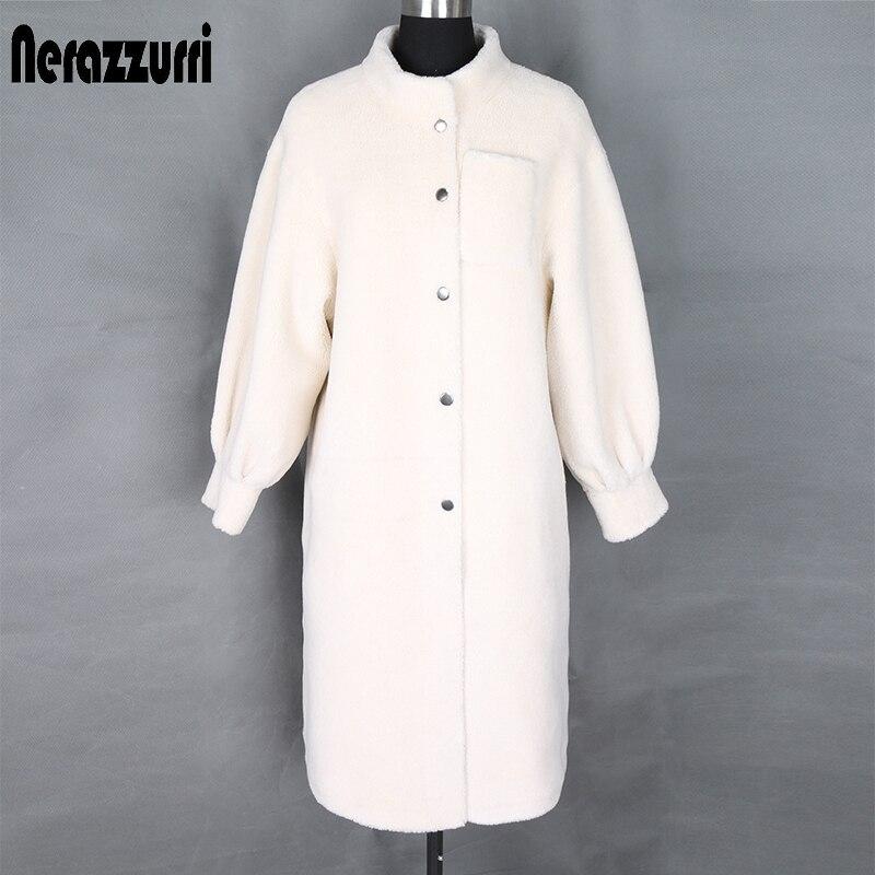 Nerazzurri Winter Teddy Coat Woman Long White Faux Fur Coat Stand Collar Fluffy Teddy Bear Jacket Plus Size Faux Sheepskin Coat