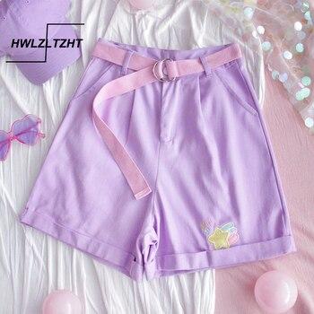 HWLZLTZHT embroidery Denim Short Pants Women Japanese High Waist Cute Casual Purple Short Pants Korean Kawaii Wide Leg Pants