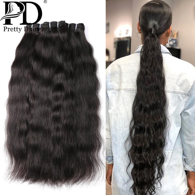 Extensiones de cabello Natural virgen indio, 28, 30, 32, 34, 36 pulgadas, 1, 3, 4 unidades, cabello indio liso, 100% humano