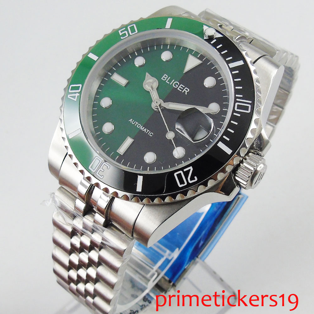 Green black ceramic bezel 40mm green black dial sapphire glass automatic movement mens watch deployant clasp military style