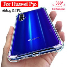 ALLOPUT Airbag Case Huawei P30 Pro Lite Clear TPU Cover p30 lite Shockproof Protection Glass +