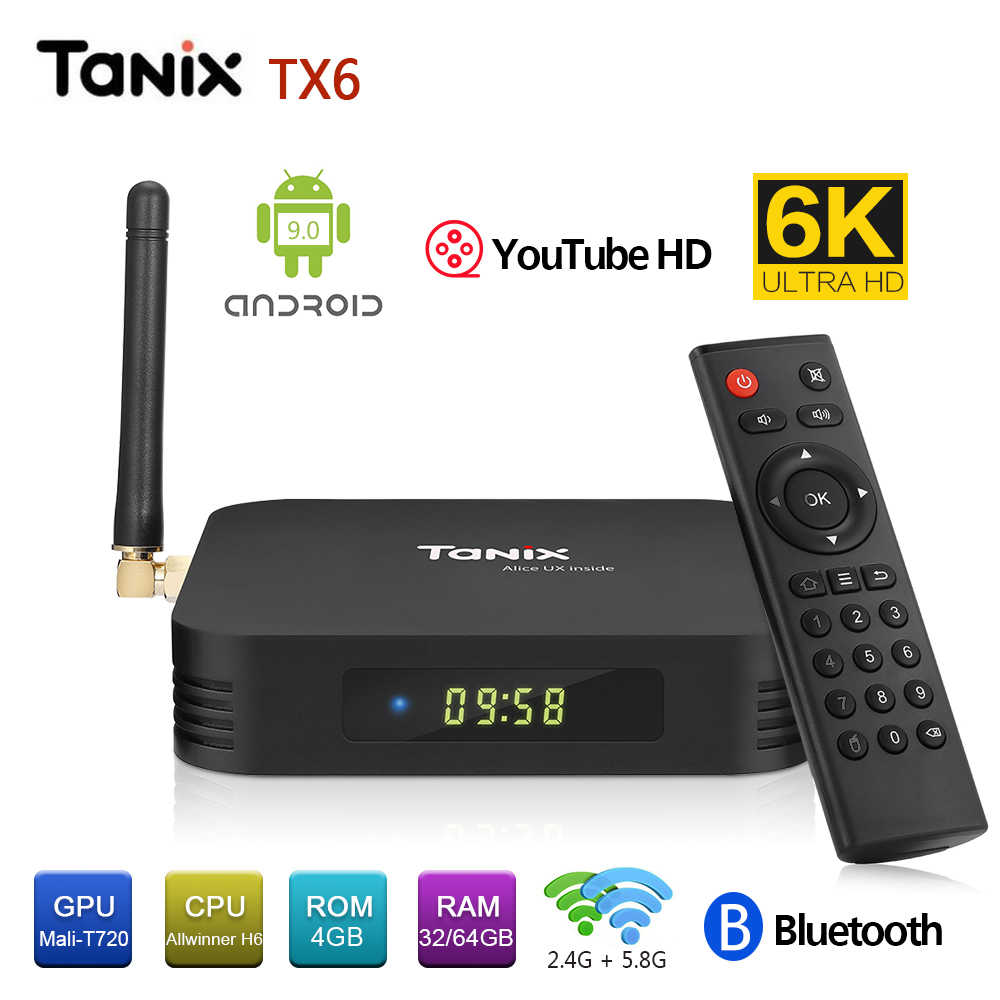 Tanix TX6 TX6-A Android 9.0 Smart TV Box Allwinner H6 4GB 32GB 64GB EMMC Set Top Box 2.4GHz + 5.8GHz Wifi BT5.0 4K Người Chơi