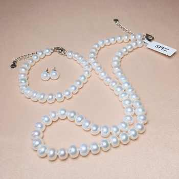 Pearl Jewelry Sets Genuine Natural Freshwater Pearl Set 925 Sterling Silver Pearl Necklace Earrings Bracelet For Women Gift SPEZ