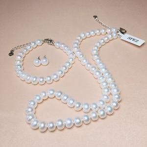 Image 5 - Perle Schmuck Sets Echte Natürliche Süßwasser Perle Set 925 Sterling Silber Perle Halskette Ohrringe Armband Für Frauen Geschenk SPEZ