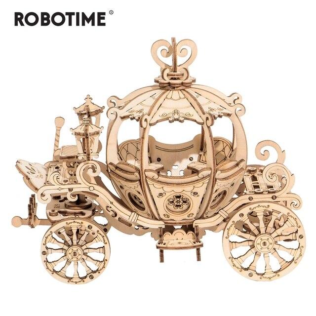 Robotime جديد وصول 182 قطعة DIY المنقولة 3D خشبية اليقطين عربة بناء نموذج كيت لعبة هدية للأطفال صديق TG302