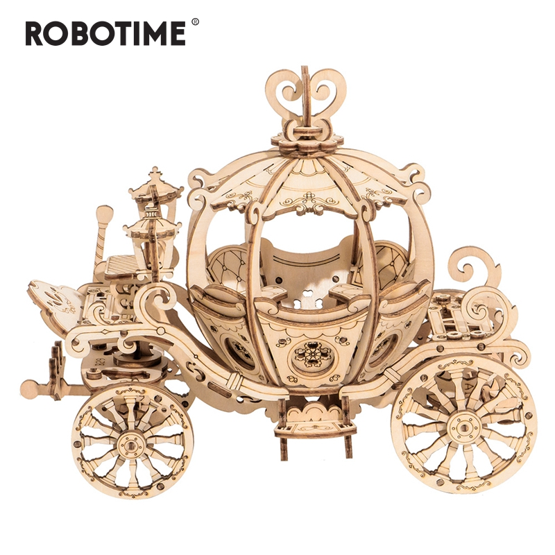 Robotime New Arrival 182pcs DIY Movable 3D Wooden Pumpkin Cart Model Building Kit Toy Gift For Children Friend TG302