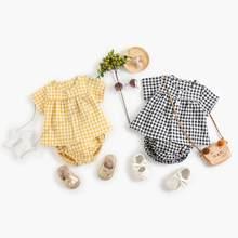 Sanlutoz conjuntos de roupas para meninas do bebê algodão manga curta casual xadrez bebê topos + shorts 2 pçs crianças roupas moda