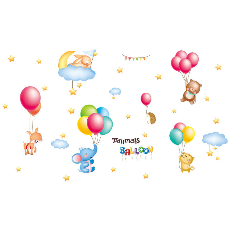 [Shijuekongjian] Deer Tier Wand Aufkleber DIY Luftballons Wolken Wand Abziehbilder für Haus Kinder Zimmer Baby Schlafzimmer Kindergarten Dekoration