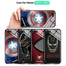 For Huawei Y5 2018 / Y5 Prime 2018 / Honor Play 7 / Honor 7s Marvel Superhero Phone Case Luxury Tempered Glass Back Casing Cover(China)