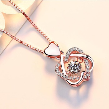 100% real Silver necklace with round zircon pendent  3