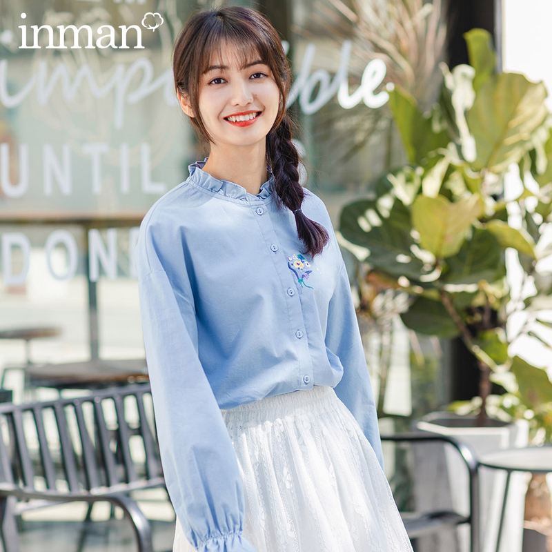 INMAN  Literary Lace Collar Embroidered Horn Loose Long Sleeve Blouse