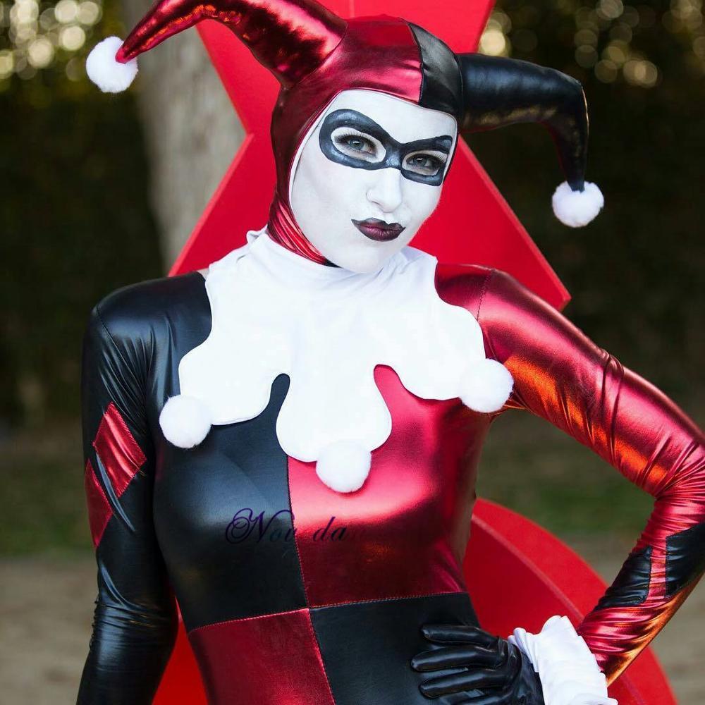 Adulto clássico esquadrão suicida harley quinn cosplay traje de látex macacão zentai terno fantasia traje de halloween para mulher