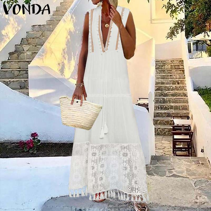 Long Party Dress Women Patchwork Lace Long Dress Sexy Deep V Neck Long Robe Beach Summer Sundress 2020 VONDA Plus Size Vestido