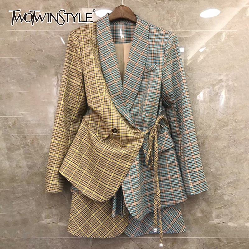 TWOTWINSTYLE Plaid Hit Color Patchwork Women's Suit Lapel Collar Lace Up Blazer High Waist Mini Skirt Two Piece Set Female 2019