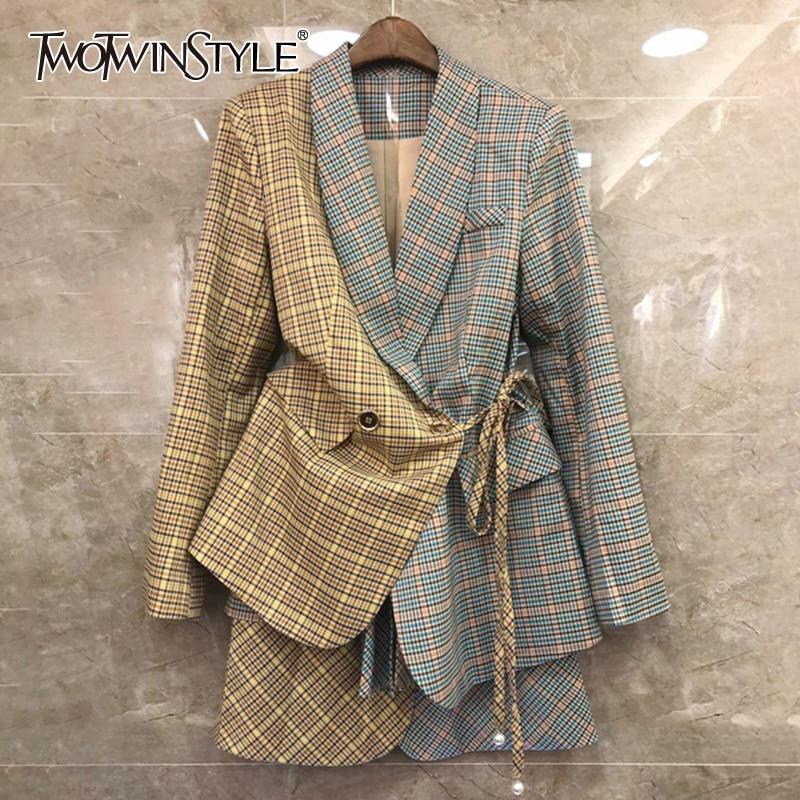 TWOTWINSTYLE Plaid Hit Color Patchwork Women's Suit Lapel Collar Lace Up Blazer High Waist Mini Skirt Two Piece Set Female 2020