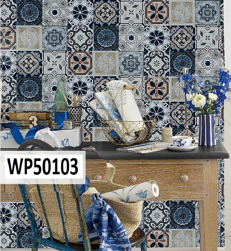 us 24 78 rasch kitchen bathroom mosaic tile effect blue white pvc vinyl wallpaper wallpapers aliexpress