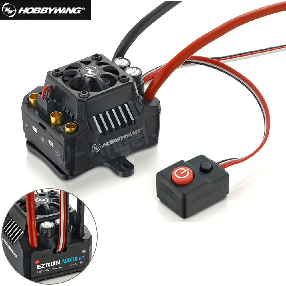 Hobbywing EZRUN Max10 120A ESC Waterproof Brushless ESC 1/10 SCT RC Hobby Truck MAX10-SCT 120A