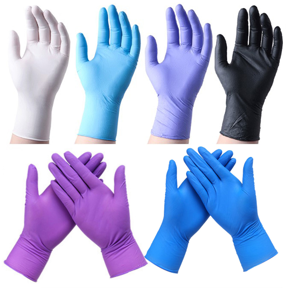In Stock! Vinyl Gloves 100pcs Disposable Powder-free Industrial Food Safety 3mm Translucent Pvc Gloves Nitrile Gloves Size S/xl