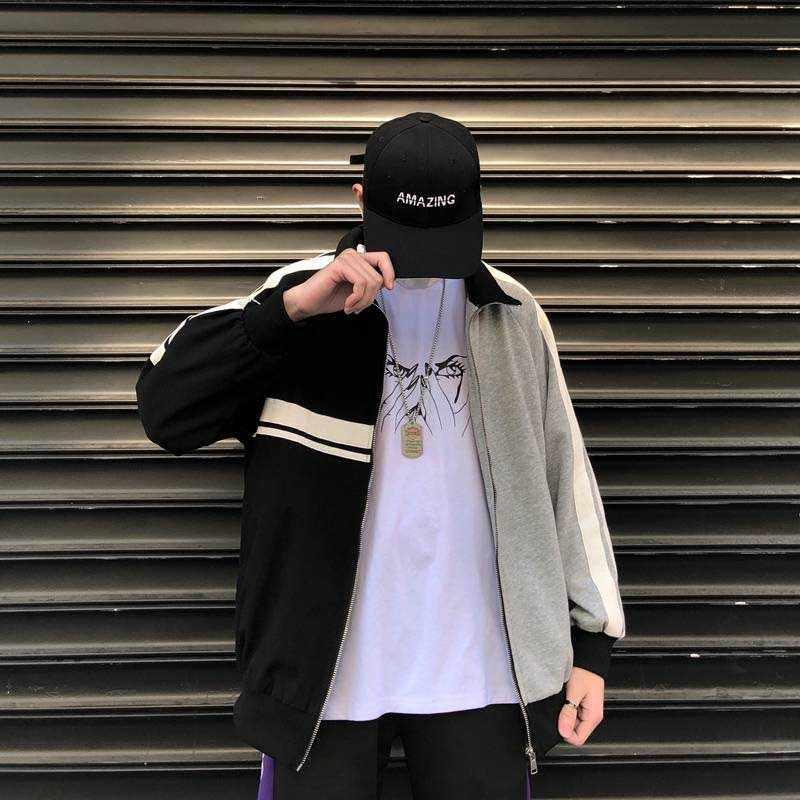 NiceMix Frühling Herbst Koreanische Neue Harajuku BF Lose Reißverschluss Stehkragen Trainingsanzug Mode Hip Hop Streetwear Outwear Lässige Coa