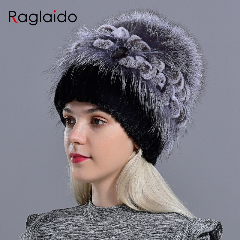 Women's Natural Mink Fur Hat Fox Pompom Rabbit Flowers Stylish Warm Fashion Girls Real Fur  Winter Hat Knitted