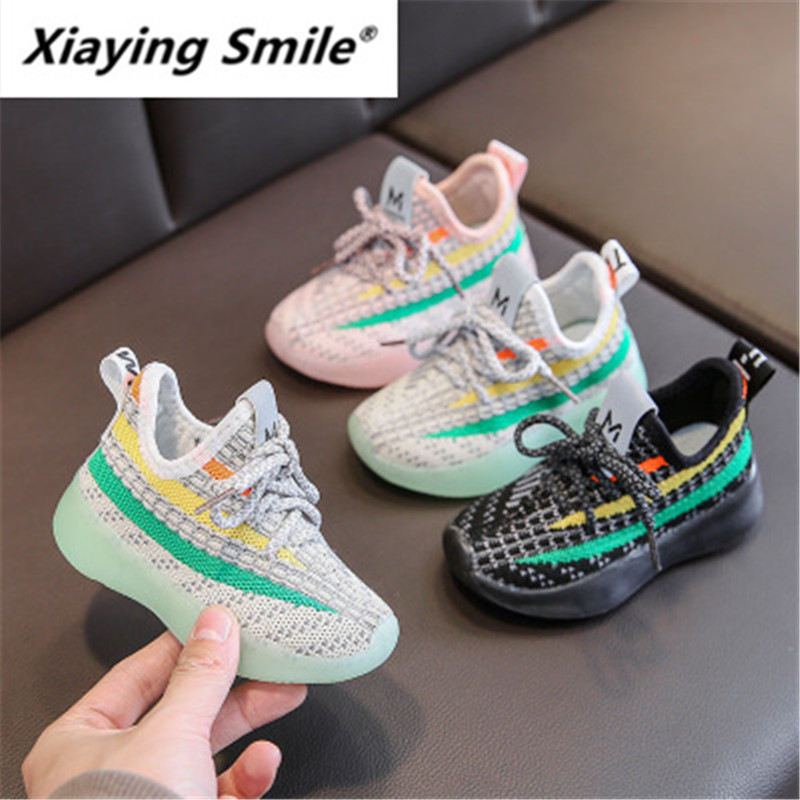 Xiaying Children Coconut Shoes Boy Flying Textile Sneakers One Foot On 2020 Spring Girl Mesh Shoes Breathable Baby Casual 001