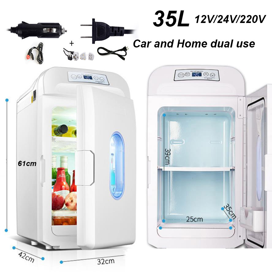 35L Mini Car Fridge Cooler Cooling Heating 220V/12V 24V Dual-use Refrigerator Economical Freezer Aluminum ABS Mute Rack Remove