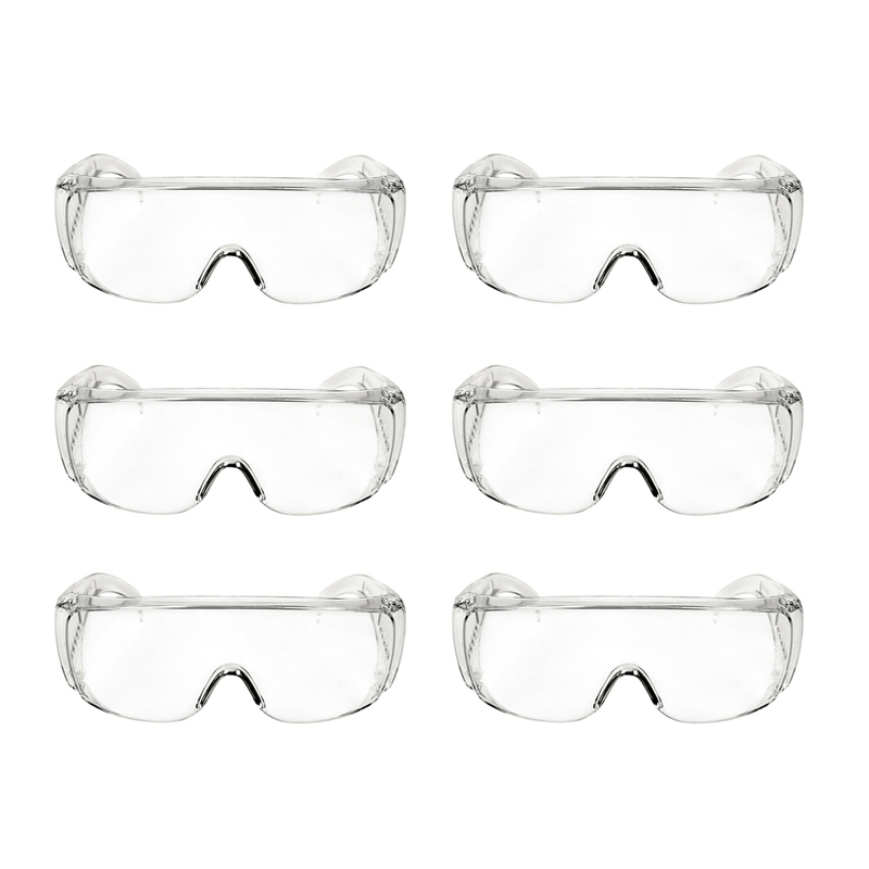 6Pcs Antivirus Goggle Labor Protection Splash-Proof Transparent Anti-Fog Sand-Proof Riding Anti-Shock Safety Glasses