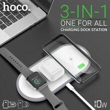 Hoco 3 in 1 hızlı kablosuz şarj 5W 7.5W 10W iphone samsung için kulaklık izle QI şarj masaüstü dock kablosuz şarj pedi