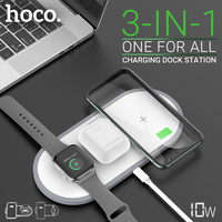 hoco 3 in 1 fast wireless charger 5W 7.5W 10W for iphone samsung headset watch QI charger desktop dock wireless charging pad Wireless Chargers     -