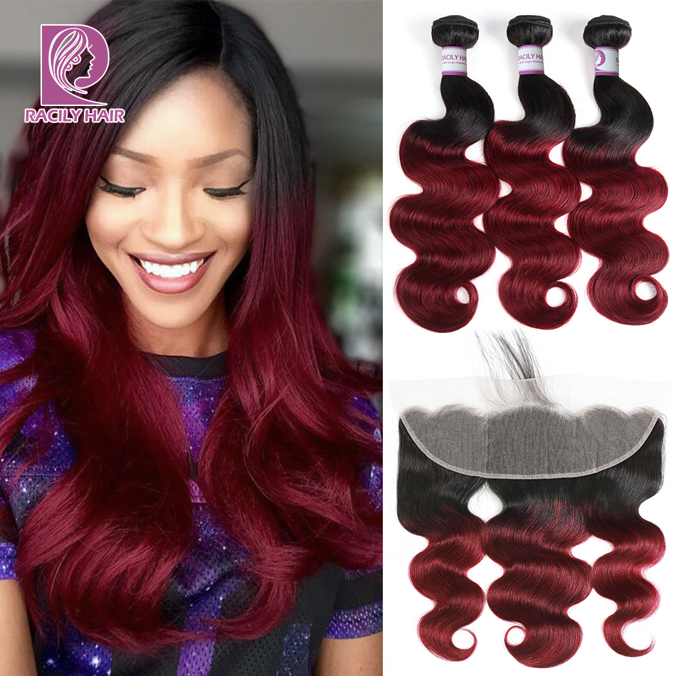 Lace Frontal Closure With Bundles Brazilian Body Wave Bundles With Frontal Ombre Human Hair With Lace Frontal Remy Racily Hair
