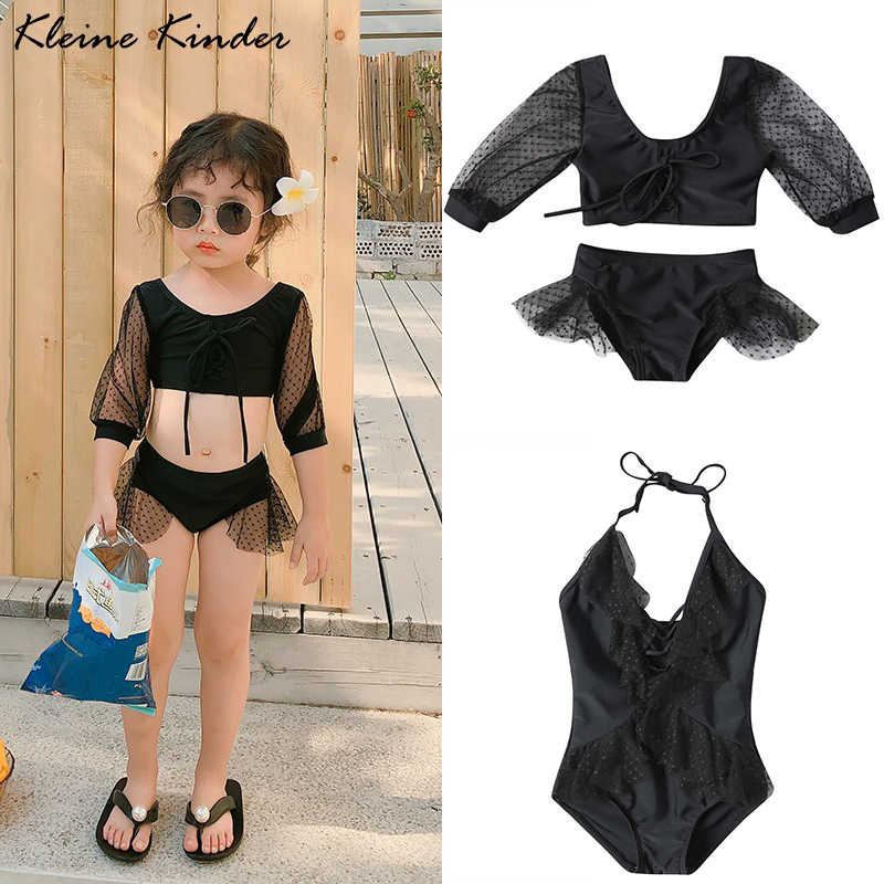 Swimsuit Baby Girl Black Mesh Lace Bikini For Children 2019 Summer New Halter Sexy One Piece Swim Bathing Suit Girls Swimwear| |   - AliExpress