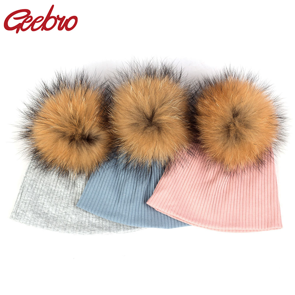 Geebro Kids Childs Soft Warm Knit Tie Dye Ribbed Cotton Beanies Hat With 13cm Real Fur Pompom For Baby Girl Winter Skullies Hats