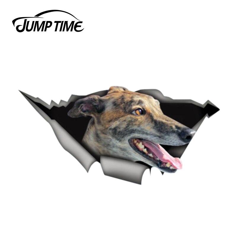 Jump Time 13cm X 6.3cm Greyhound Funny StickerTorn Metal Decal Wild Animal Funny Car Stickers Window Bumper 3D Car Styling