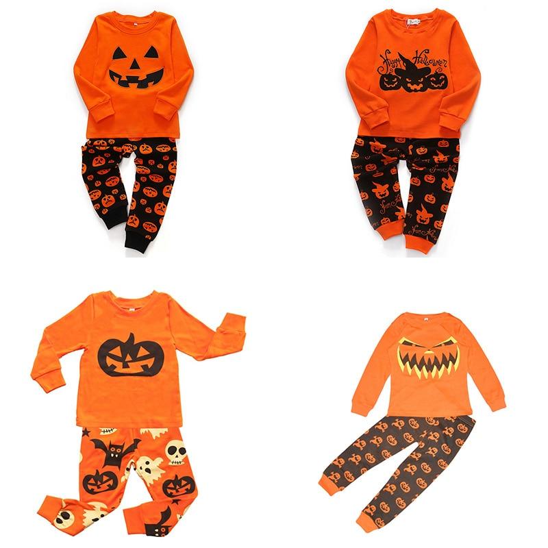 2019 Boys Girls   Pajamas     Sets   Children Halloween Clothes for Girls Autumn Winter Kids Cartoon Long Sleeve Sleepwear