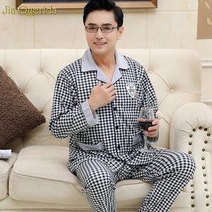 Image 4 - Pyjama Men Chinese Pajamas Button Cardigan Long Sleeve Nightwear Plaid Lapel Home Clothing 100% Cotton Plus Size 5xl Man Big Set