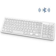 Wireless Keyboard QWERTY Bluetooth Rechargeable Numeric Full-size Portable Ergonomic Keyboard for Mac Laptop Office Supplies