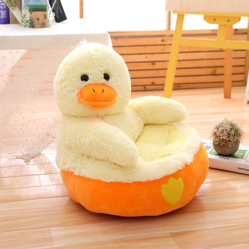 (only Cover)Cartoon Kids Plush Seats Sofa Comfortable PP Cotton Animal Duck Baby Portable Chair Sofa Gifts For Children