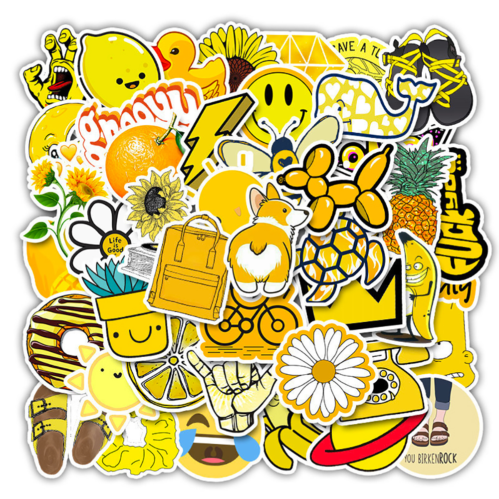 50PCS Yellow Style Cartoon Girls Stickers Skateboard Fridge Guitar Laptop Motorcycle Travel Luggage Classic Toy Cool Stickers