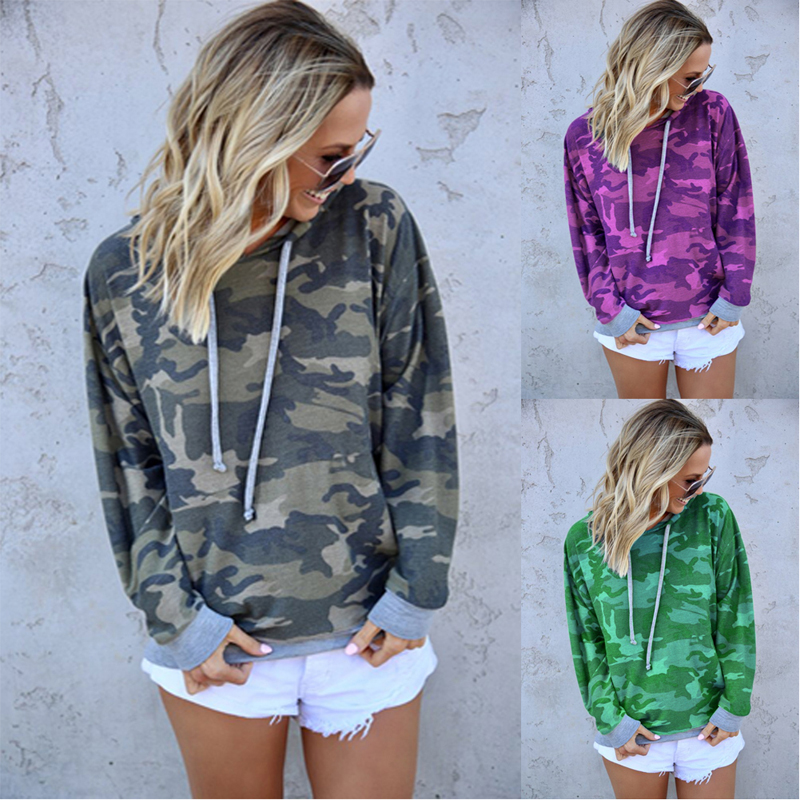 Fashion Camouflage Women's Sweatshirt Autumn Plus Size Long Sleeve Hooded Pullovers Sport Hoodie Tops Female Clothing