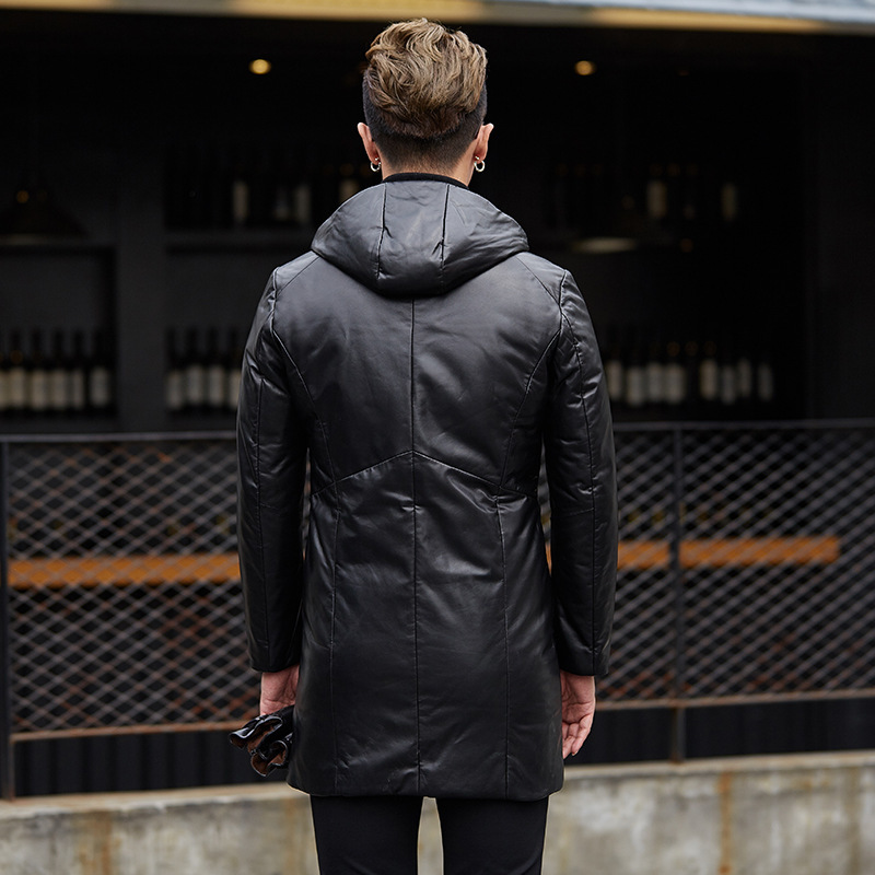 Genuine Sheepskin Leather Jacket Men Autumn Winter Men Down Jacket Long Coat Jackets Veste En Cuir Homme YY1038B KJ1489