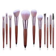 FUQUE 11Pcs Makeup Brushes Set Sandalwood Handle with Soft Wool Fiber for Eye Shadow Blending Eyeliner Eyelash Eyebrow Brushes недорого